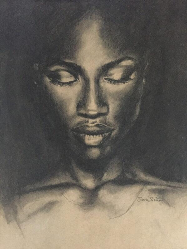 African female portrait sketch by artist Sara Sian