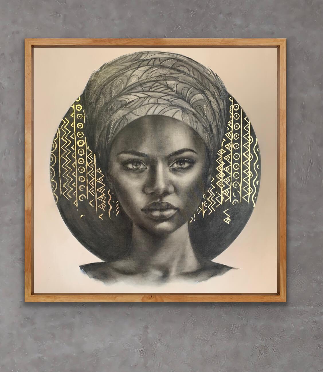 gold leaf art female portraits African painting Sara Sian Imani framed