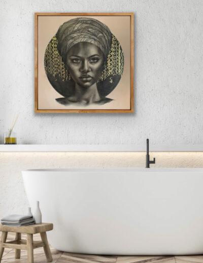 female portraits African painting Sara Sian - Imani framed