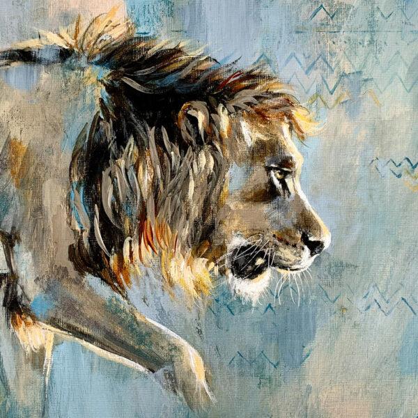 Wildlife art blue lion painting Sara Sian