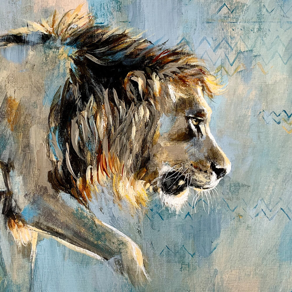 Wildlife art blue lion painting Sara Sian