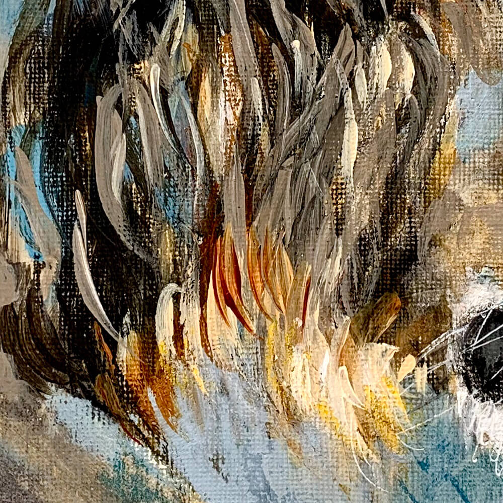 Wildlife art blue lion painting Sara Sian close up