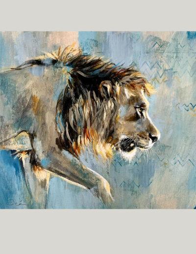 Wildlife art blue lion painting Sara Sian square