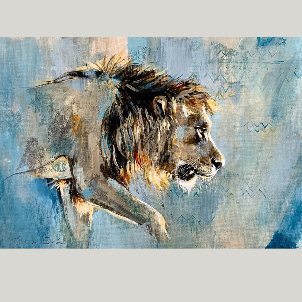 Wildlife art blue lion painting Sara Sian square