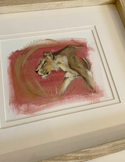 Wildlife art lioness red painting Sara Sian framed 2
