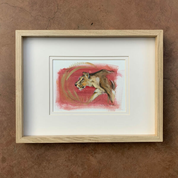 Wildlife art lioness red painting Sara Sian framed wall