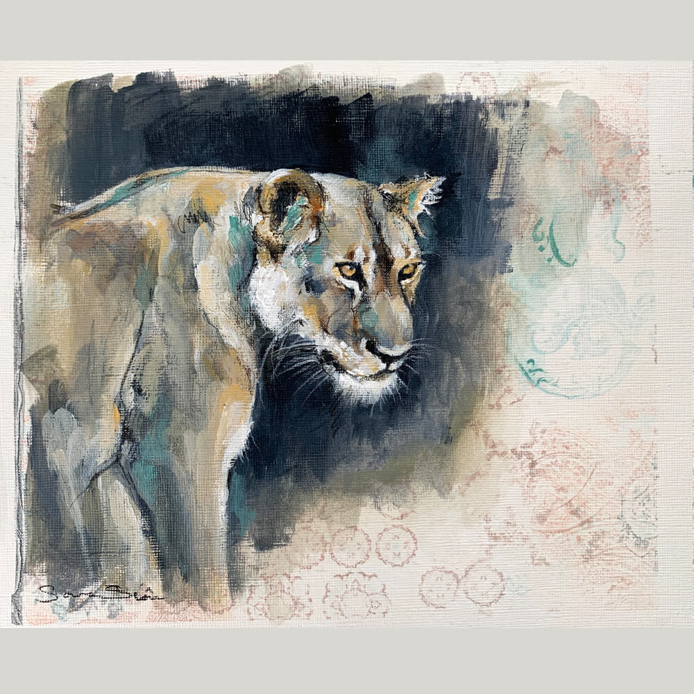 Wildlife art Lioness pattern Sara Sian