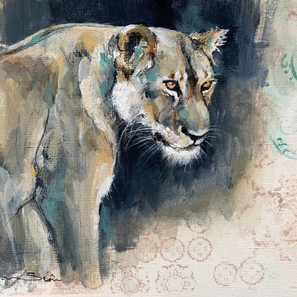 Acrylic painting of watchful lioness Wildlife art Sara Sian
