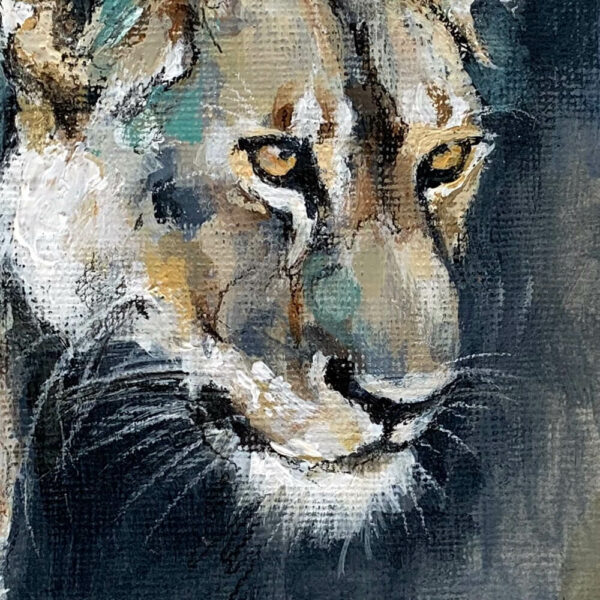 Wildlife art lioness painting Sara Sian