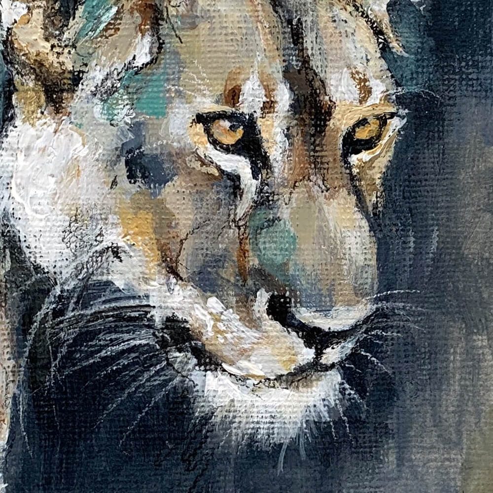 Wildlife art lioness painting Sara Sian