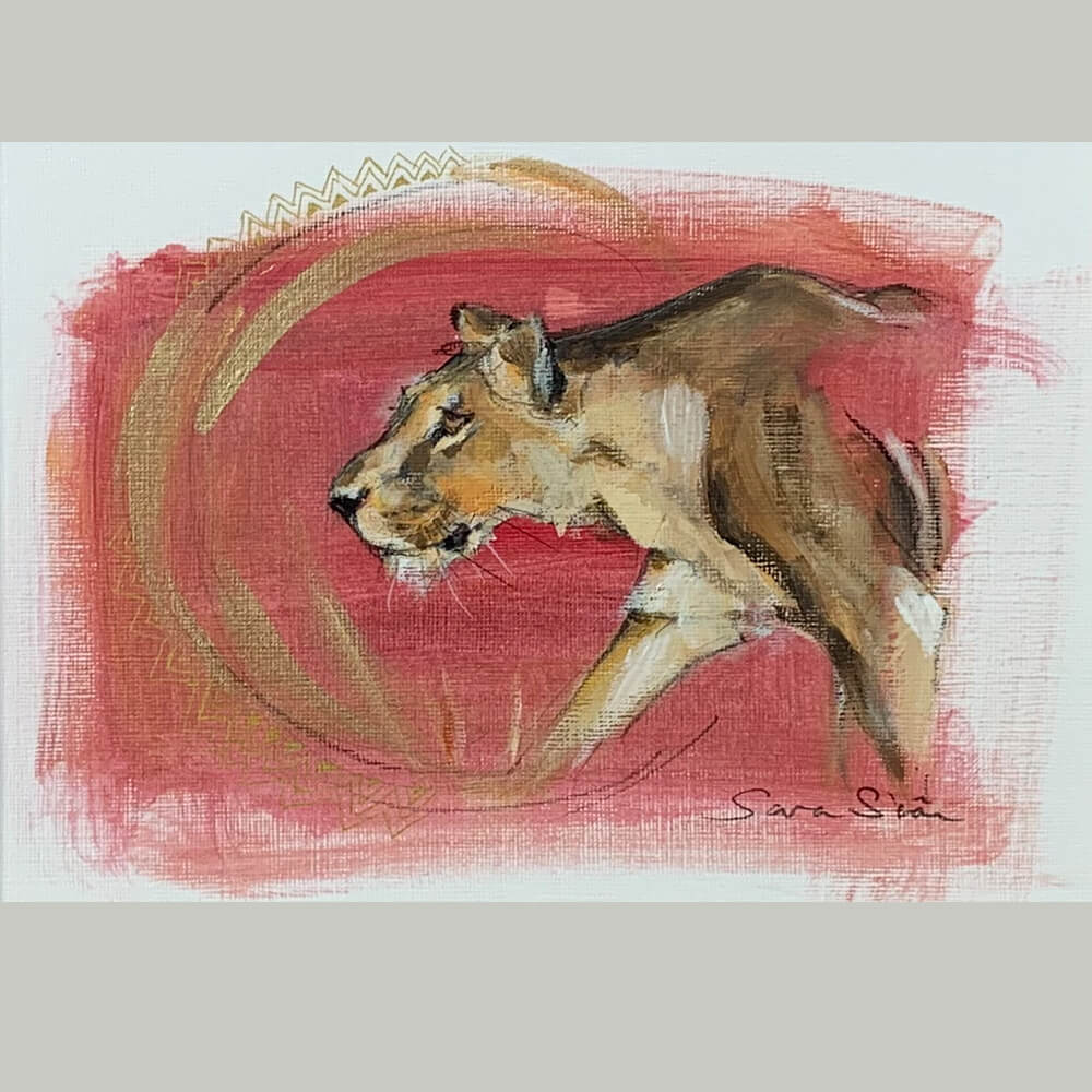 Wildlife art lioness red painting Sara Sian