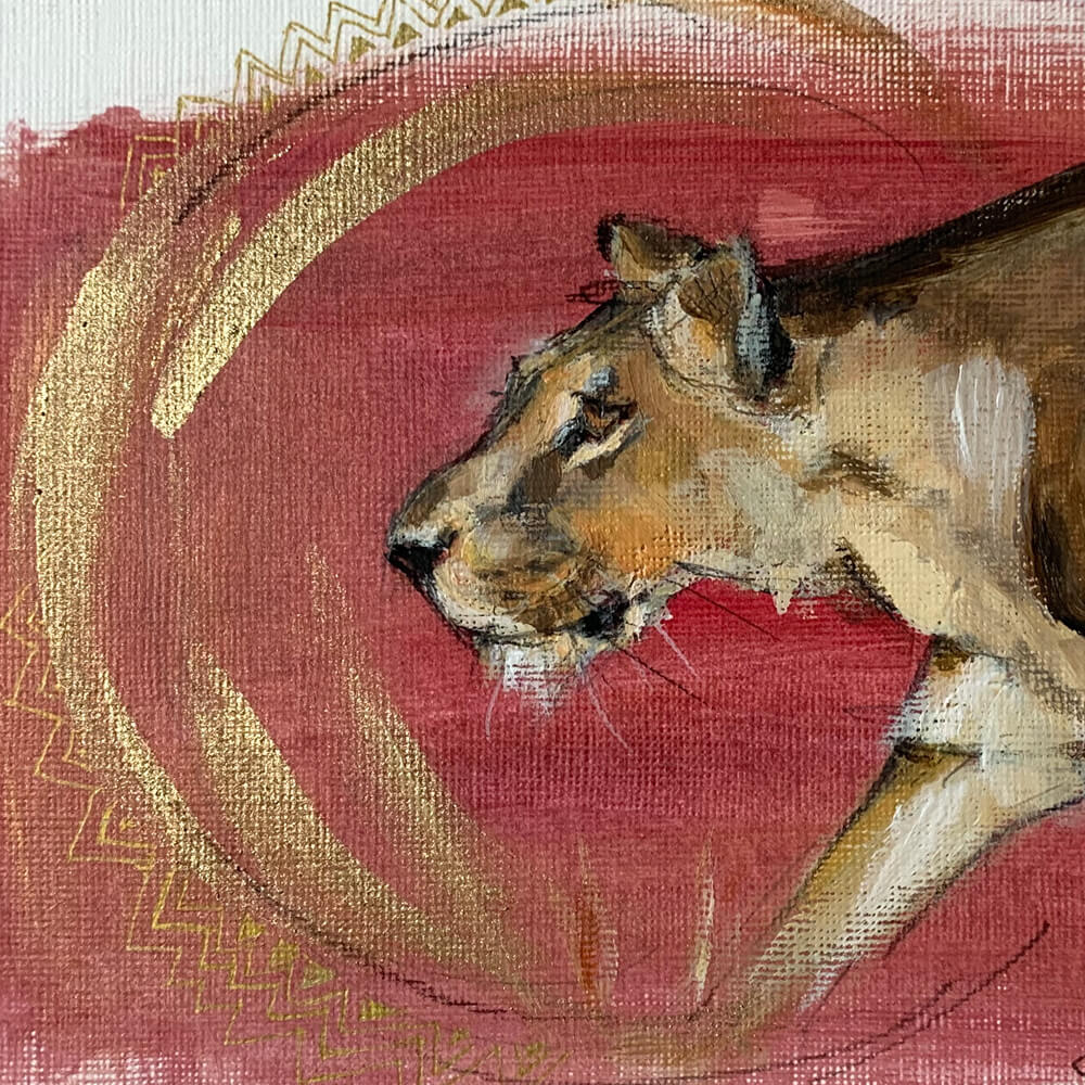 Wildlife art lioness red painting Sara Sian cropped