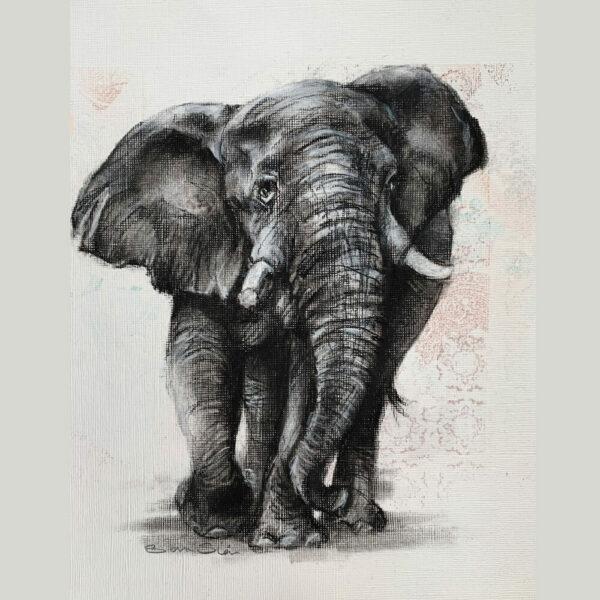 Wildlife art elephant pattern Sara Sian