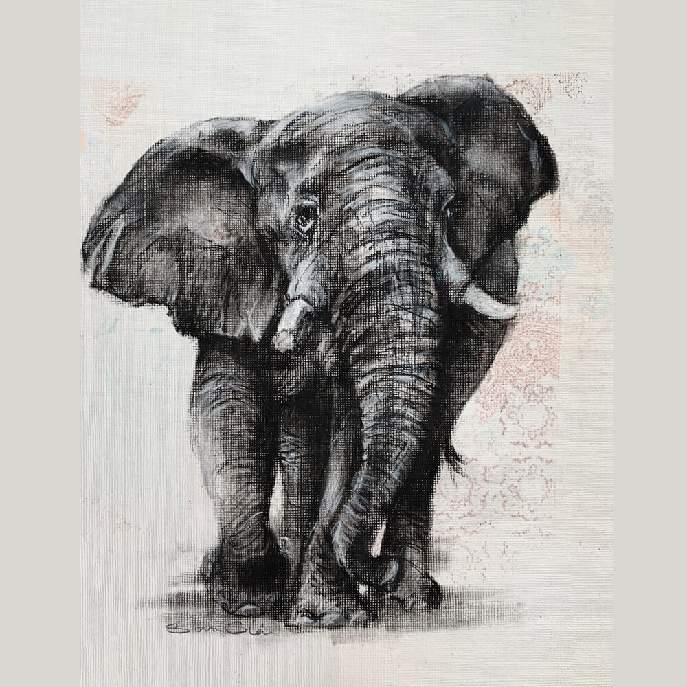 Wildlife art elephant pattern Sara Sian
