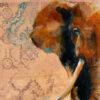 Wildlife art elephant close up painting Sara Sian