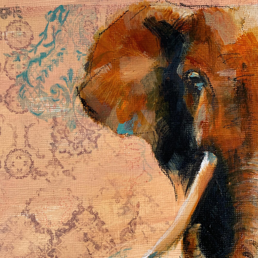Wildlife art elephant close up painting Sara Sian