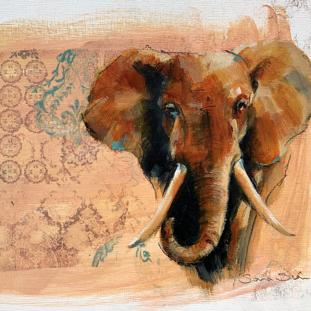Wildlife art elephant painting Sara Sian