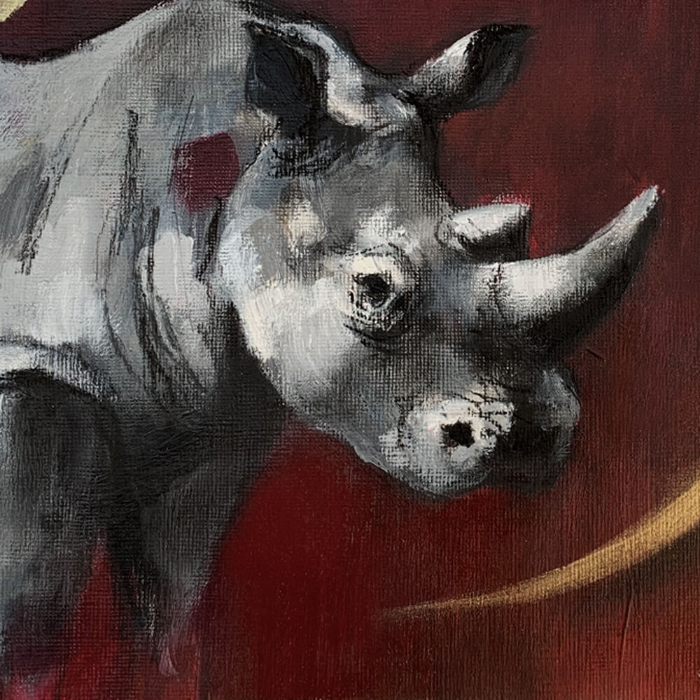 Wildlife art Rhino Red painting Sara Sian close up