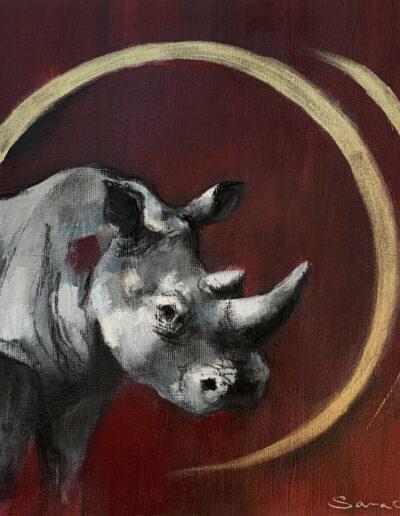 Wildlife art Rhino Red painting Sara Sian