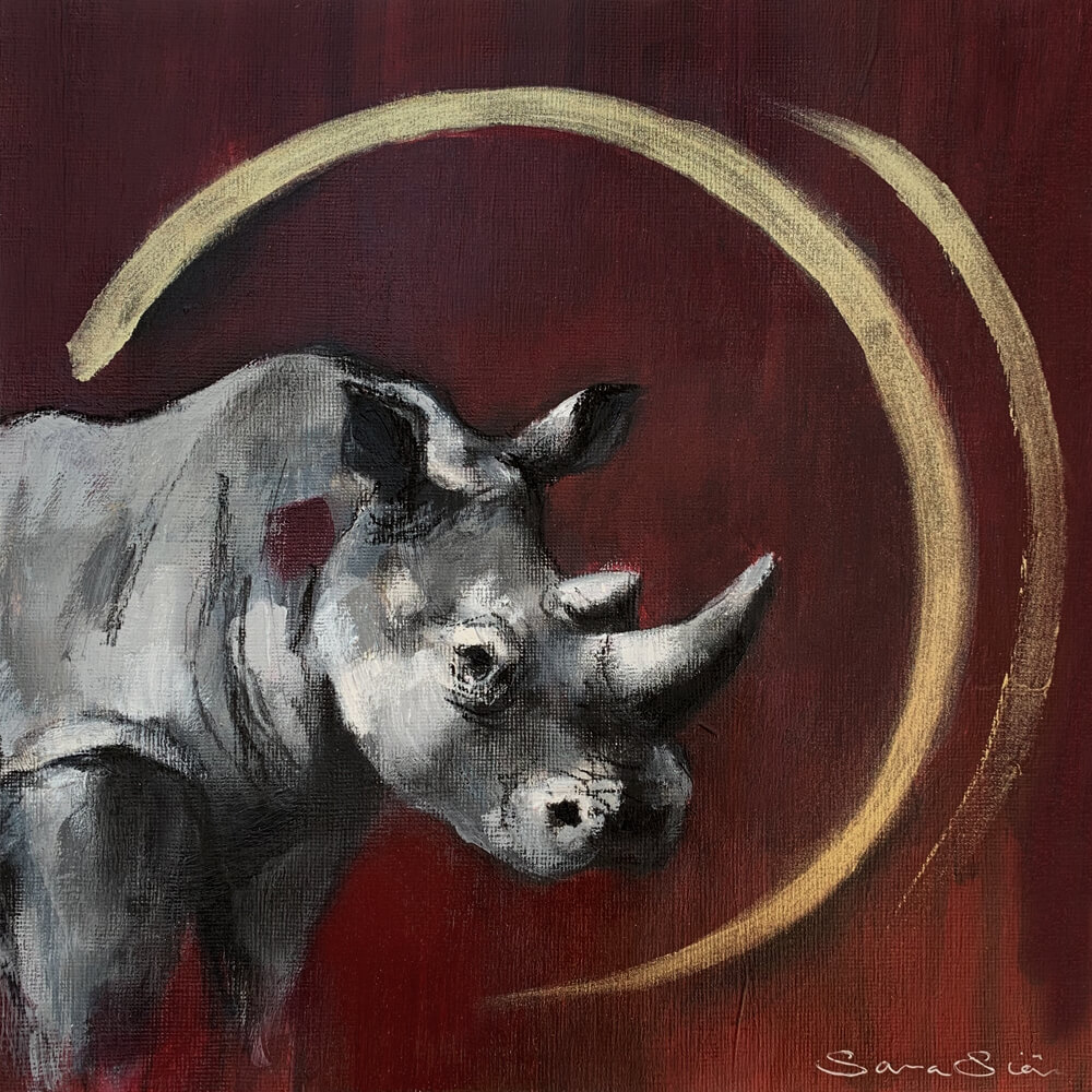 Wildlife art Rhino Red painting Sara Sian