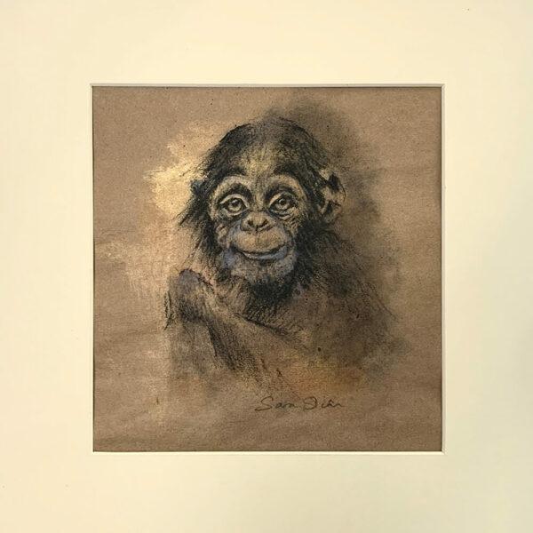 chimp_sarasian_mount Wildlife art